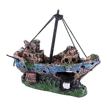 Fdit Acuario Decoraciones Artificiales Resina Acuario Ornamento Barco Acuario Paisaje para Tanque de Peces Barco Pirata