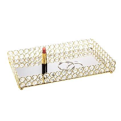 Feyarl - Bandeja Rectangular con Espejo para cosméticos y joyería, Ideal para decoración de Bodas