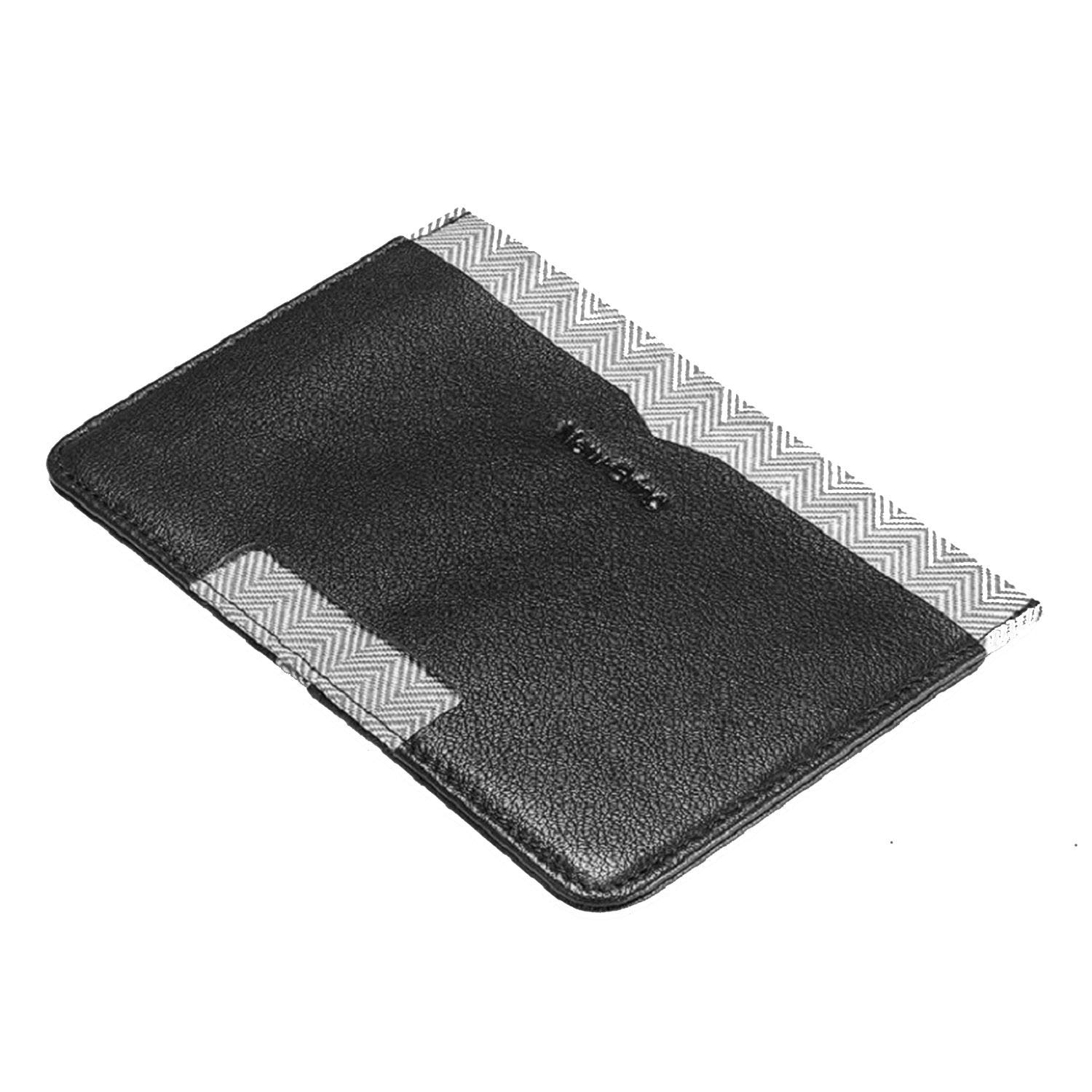 Leather Passport Cover Travel Wallet Men for Credit Card Checkbook Id Holder Ticket Clip Passport Holder,Folding Black