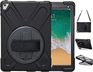 iPad Pro 9.7 Case, TSQ Heavy Duty Rugged Protective Hard Shockproof Case Cover For Kids With Handle Hand Strap,Carrying Shoulder Strap &360 Degree Rotating Stand, 9.7 Inch 2016 A1673/A1674/A1675 Black