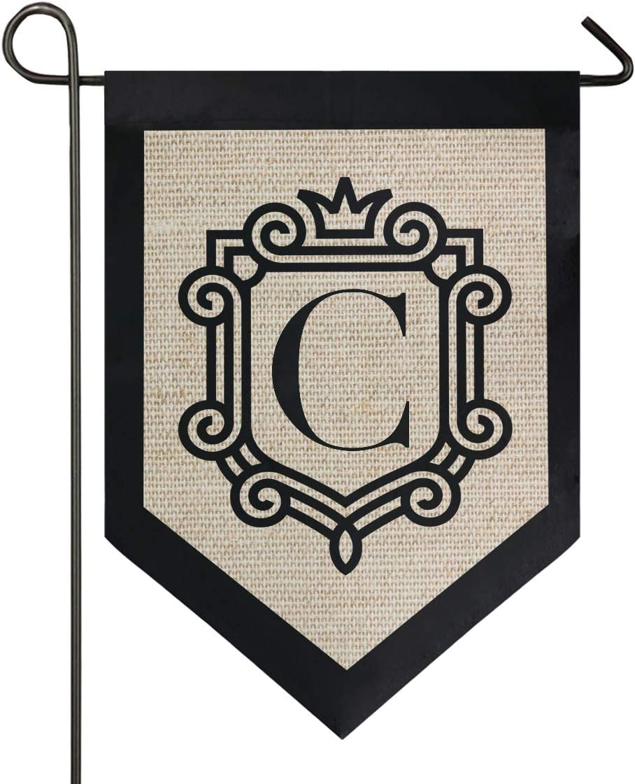 Oarencol Monogram Letter C Garden Flag Classic Crown Double Sided Home Yard Decor Banner Outdoor 12.5 x 18 Inch