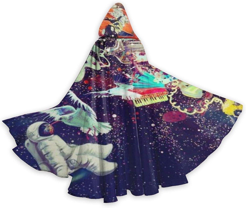 TYHG - Capa unisex con capucha para adultos, para Halloween, juego de roles, 3D, astronautas, música de pájaros espaciales, fiesta de Navidad, disfraz para mujeres y hombres, cosplay