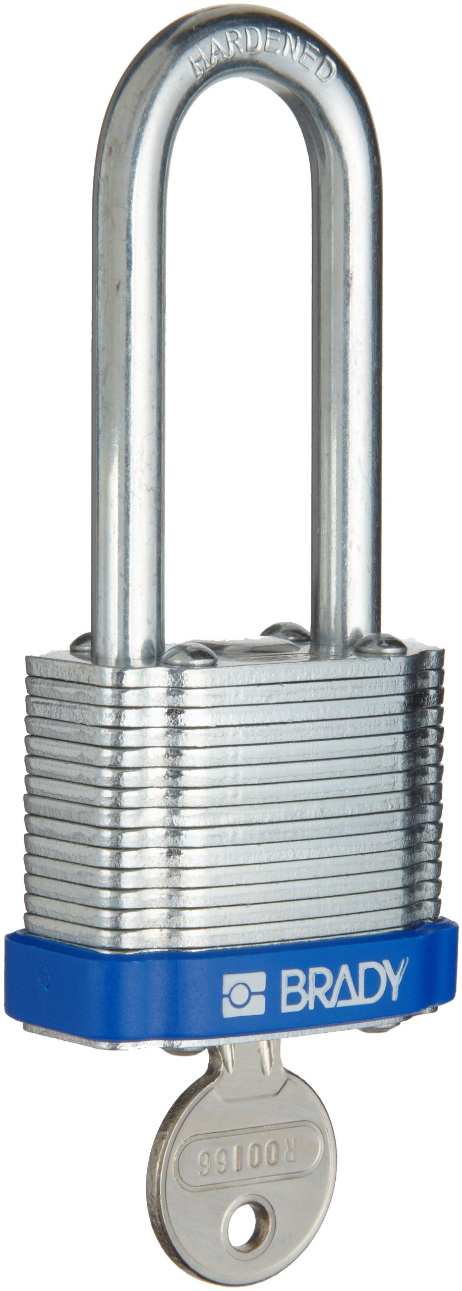 Brady Steel Lockout/Tagout Padlock, Keyed Alike,  1-1/3'' Body Length, 2'' Shackle Clearance, Blue (Pack of 3)