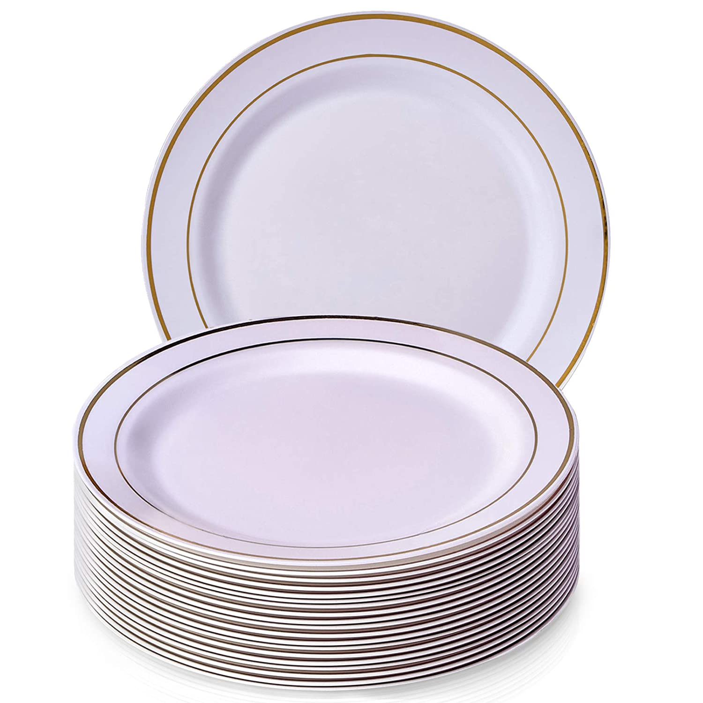 Silver Spoons 1843-SiS Disposable DINNERWARE Premium Reusable Plastic Dishes    20 Dinner Plates   Golden Glare   10.25