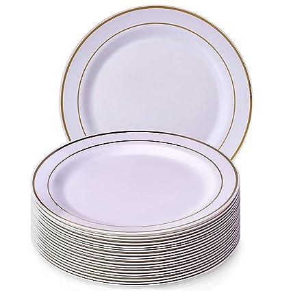 Golden brillos colección elegante China vajilla desechables plato redondo blanco con borde dorado (para bodas