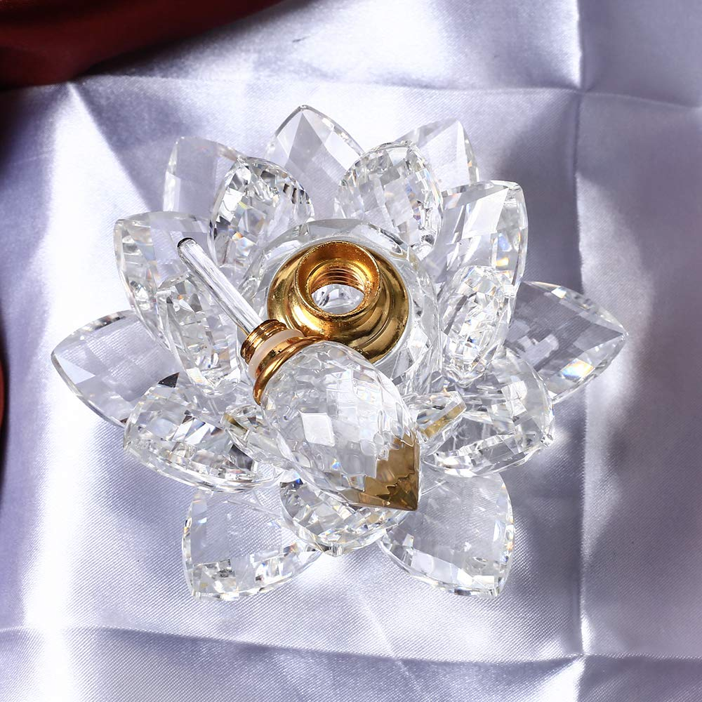 Gold Happy 10CM Diameter Crystal Lotus Perfume Bottle Miniature Glass Car Decoration Interior Ornaments for Delicate Gifts Home Decor