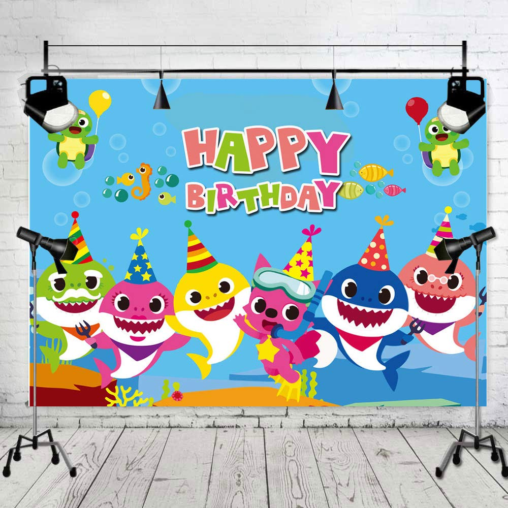 Art Studio 7x5ft Baby Shark Family Photo Background Children Happy Birthday Party Photography Backdrops Cartoon Animals Theme Studio Props Booth Vinyl by Art Studio