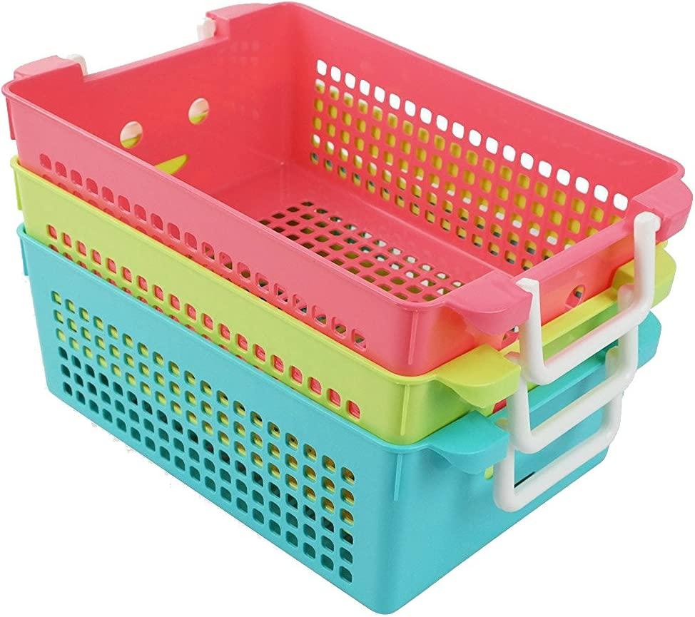 "Ggbin Plastic Storage Basket with Handles, Set of 3, 12"" L x 8"" W x 4"" H"