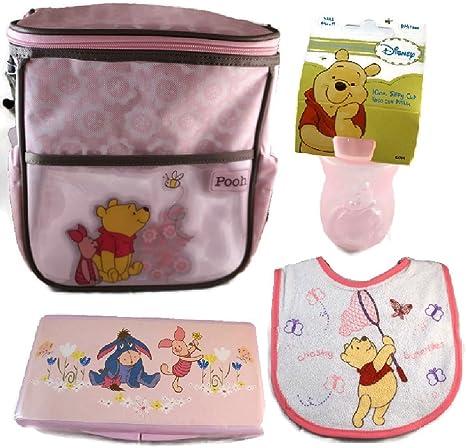 Disney Winnie the Pooh 4 piezas bolsa de pañales Bundle con estuche de viaje para toallitas húmedas, babero, Y Un Vasito rosa rosa: Amazon.es: Bebé