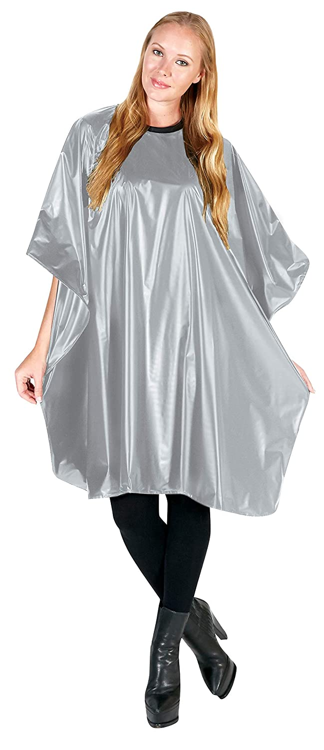 Betty Dain Jumbo Shampoo Cape, Durable, Waterproof, Stain-resistant Vinyl, Oversized Dimensions, Convenient Touch-and-close Fastener or Hook-on Closure, 45 inches wide x 54 inches long, Silver : Hair Care Products : Beauty