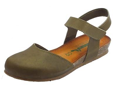 sports shoes 9f08d 999b5 BioNatura 68 C 2081 IMB Pelle Gaucho Fango Sandali Chiusi in Pelle Zeppa  Bassa