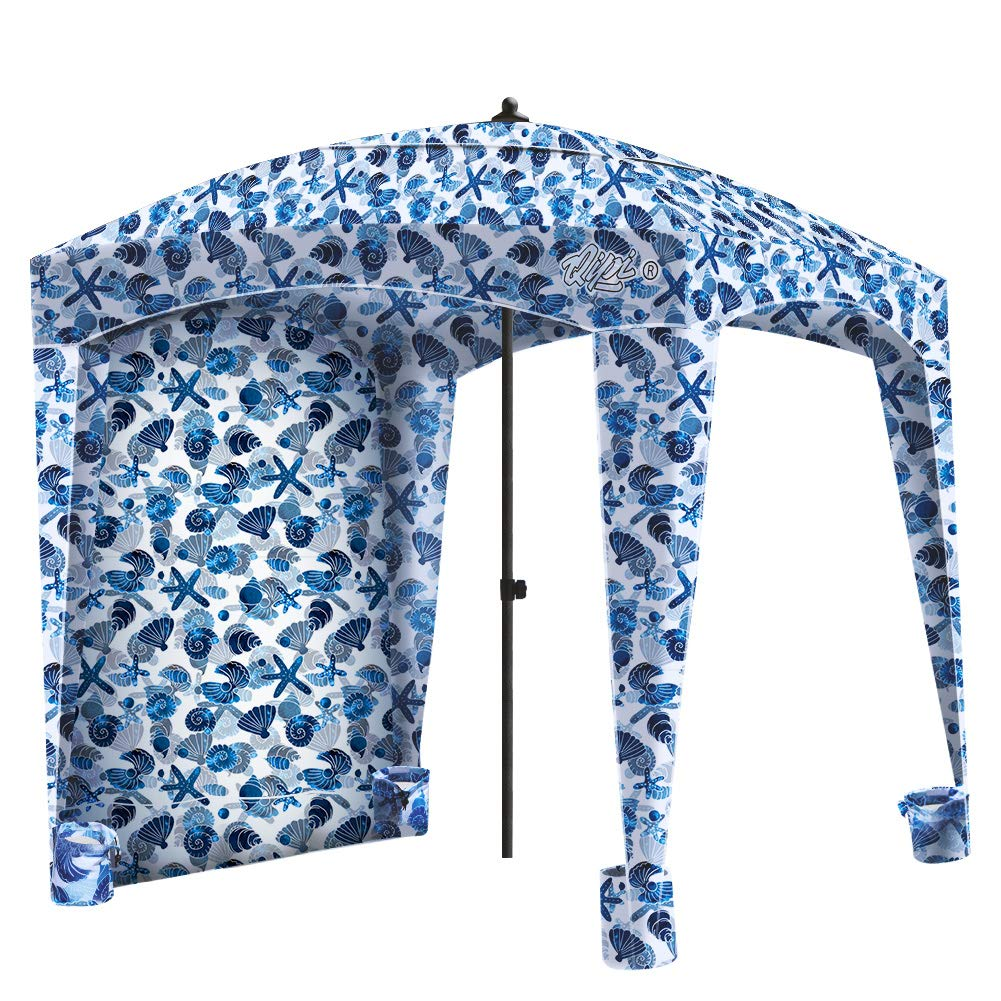 Qipi Beach Cabana - Easy to Set Up Canopy, Waterproof, Portable 6' x 6' Beach Shelter, Included Side Wall, Shade with UPF 50+ UV Protection, Ultimate Sun Umbrella - for Kids, Family - Sea Life by Qipi