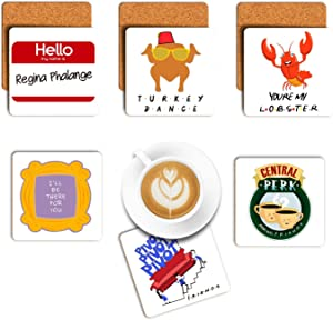 LaurBella Friends Coasters Funny Novelty Drink Soup Coaster Set of 6 Birthday Gift Friends TV Show Gifts