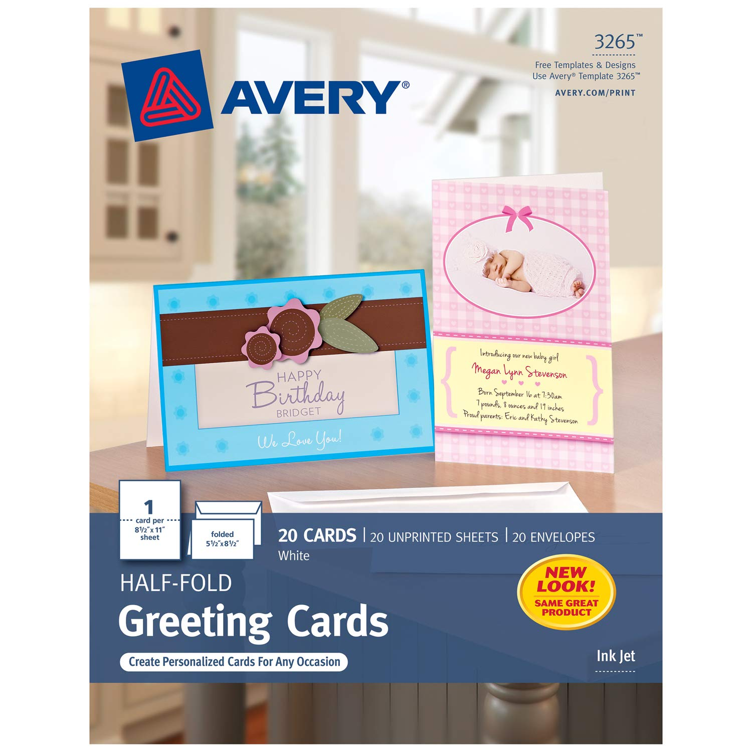 Amazon avery greeting cards inkjet printers 20 greeting amazon avery greeting cards inkjet printers 20 greeting cards and envelopes 55 x 85 folded 3265 office products m4hsunfo