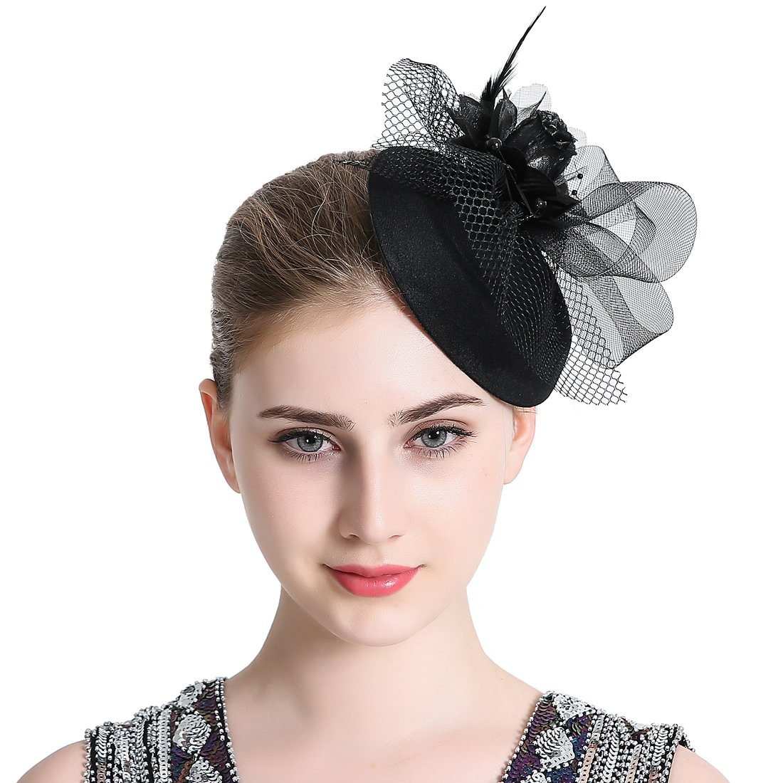 Free Yoka Womens Fascinators Black Feather Pillbox Hat Cute Beads for Cocktail Kentucky Derby Ball Wedding Church Party