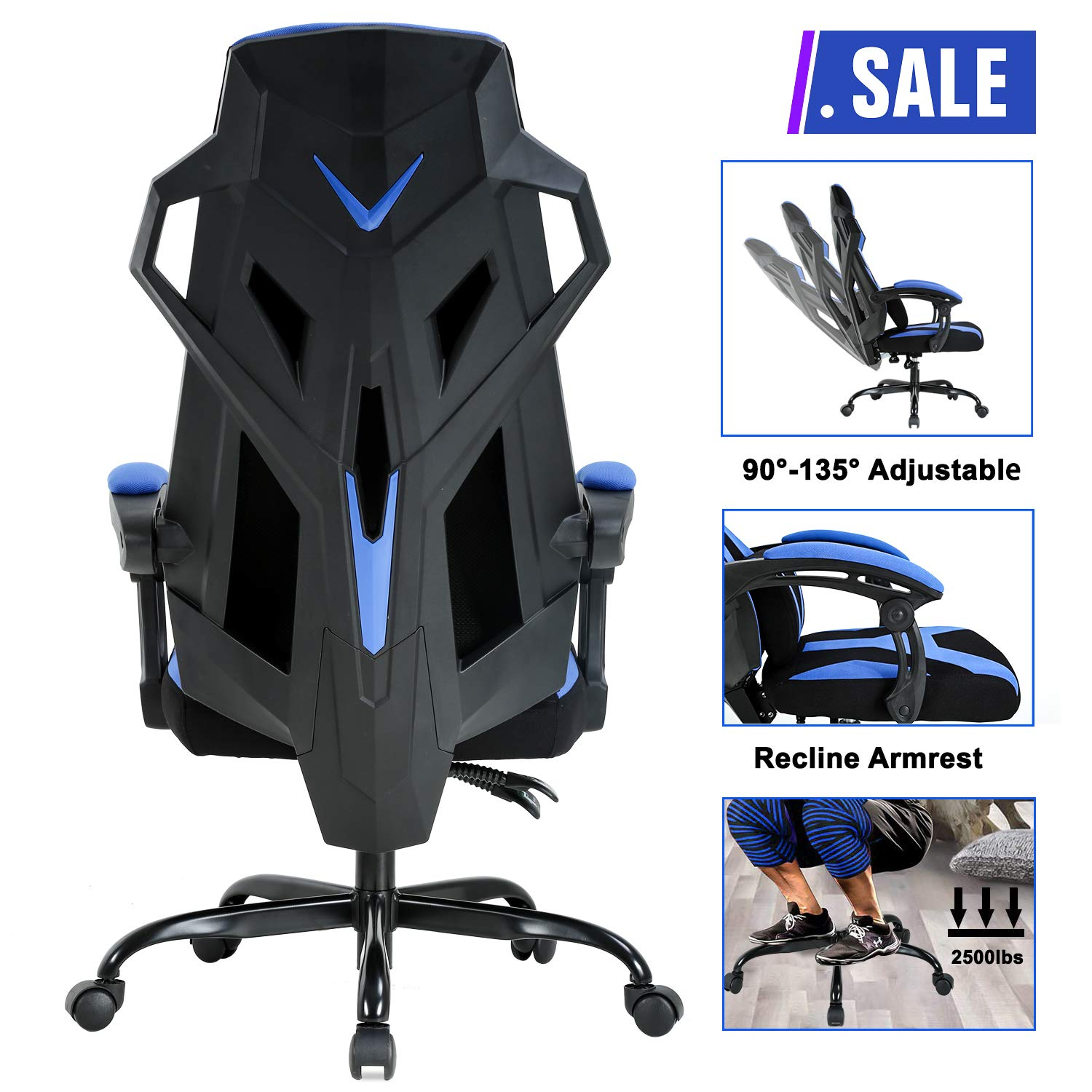 PC Gaming Chair Ergonomic Office Chair Desk Chair Executive Swivel Rolling Adjustable Computer Chair with Lumbar Support Headrest Arms High Back Racing Chair for Back Pain, Blue by BestOffice