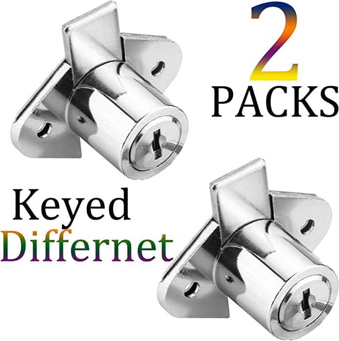 XIEHE 801 Office Furniture Drawer Lock Cabinet Door Locker with 2 Keys (2 Packs, chome, keyed different2)