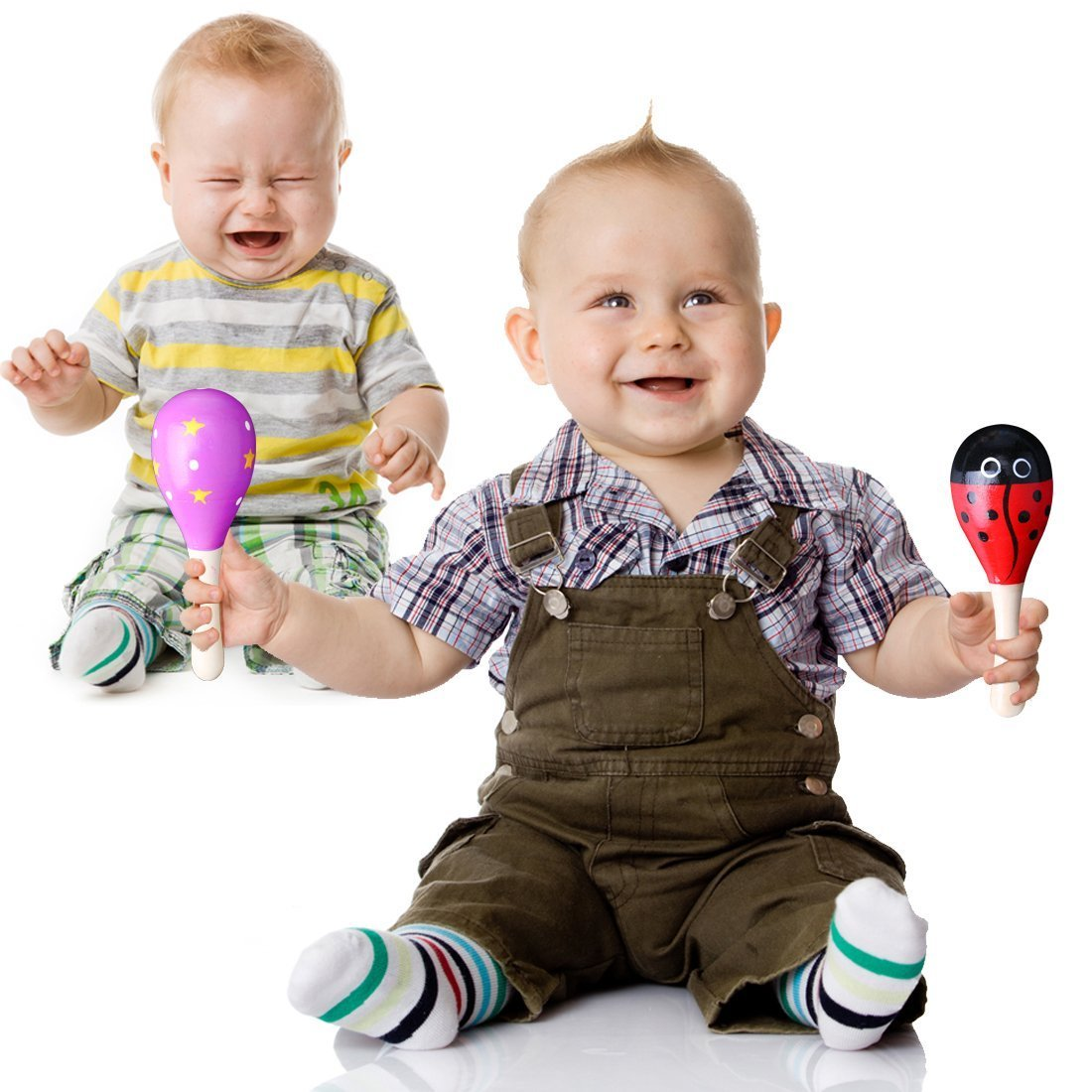 Kids Wooden Maracas,Rattle Shakers Musical Educational Toys,Random Color and Pattern,Set of 4,Mini