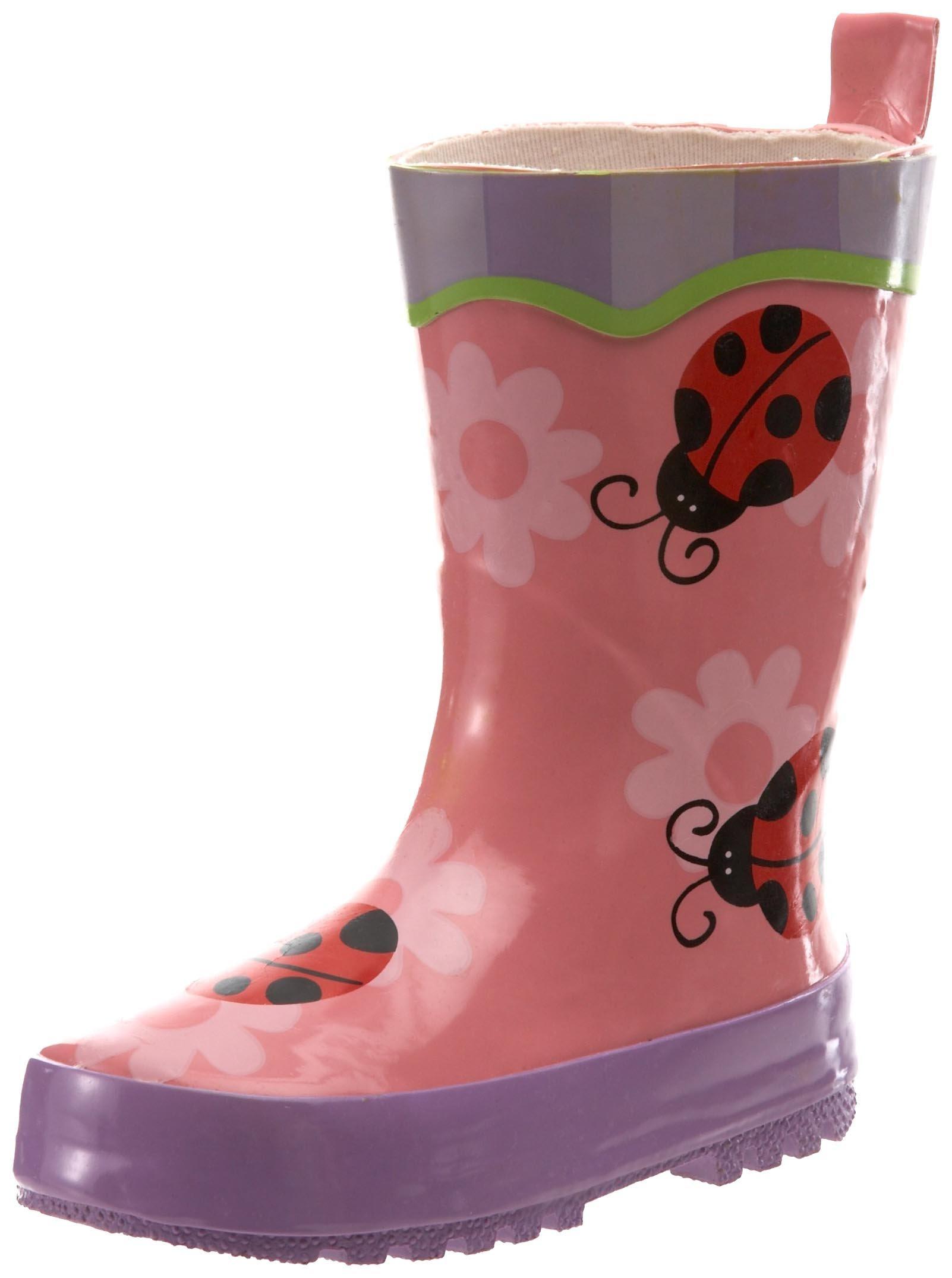 Stephen Joseph Little Girls' Ladybug Rain Boots,Petal Pink,10