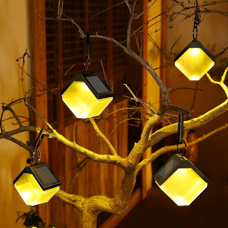 Fudosa Solar Hanging Lights, Outdoor Warm Light Solar Lanterns 4 Pack Colorful DIY Decorative Fence Lighting for Garden Wall Patio Tree