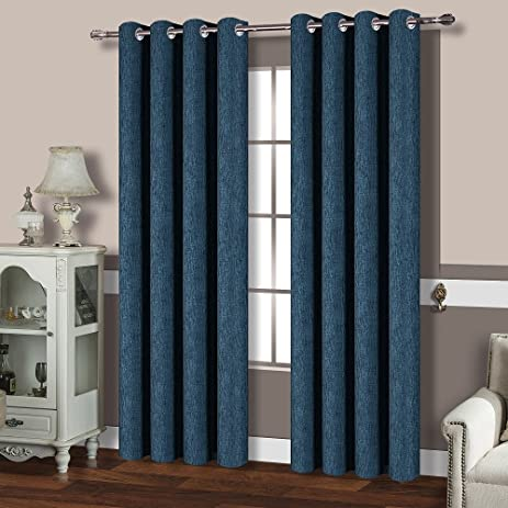 Best Dreamcity Linen Look Calming Blue Shade Thermal Insulated Solid Grommet Blackout Curtains For Living Room