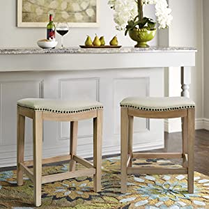 """Barton Premium Set of (2) Isabel Padded Counter Saddle Backless Indoor/Outdoor Bar Stool Nailhead (24"""" Height) Cushion Seat Footrest, Beige"""