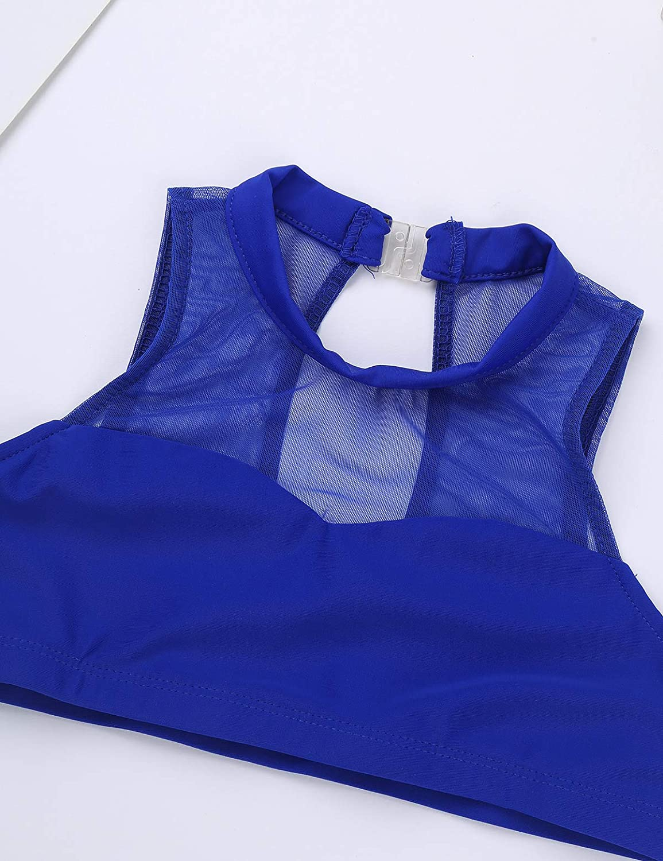 dPois Top Ni/ña Baile Gimnasia Deporte Crop Top Espalda Abierta Camiseta de Danza Estiramiento Tanques Sujetador Deportivo Camiseta Interior Deportiva 12 A/ños 14 A/ños con Relleno