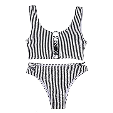 8a4f0908f64 Amiley Hot Sale Retro Women Bikini 2 Pieces Set Swimwear Push-Up Padded Stripe  Bra