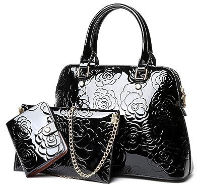 676892b3256a ... Shoulder Bag Hobo Crossbody Bag Front Belt Saddle Bag Black the best  QZUnique  Womens Shiny Patent PU Leather Top Handle Bag Tote Cross boday Bag ...
