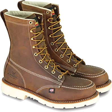 """Thorogood 8/"""" American Heritage Safety Toe Brown Work Boots 804-4821 Made in USA"""