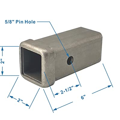 TOPTOW 64453 Trailer Hitch Receiver Tube Weld on Raw Steel for 2 Inches Hitch Receiver, 6 inch Length: Automotive