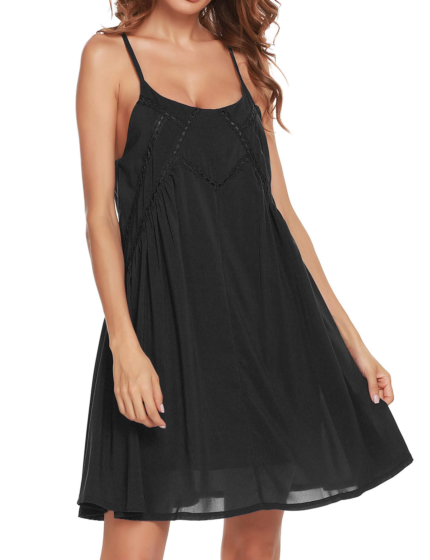 OD'lover Women Summer Spaghetti Strap Sundress Sleeveless Beach Slip Dress