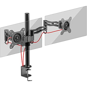 Duronic DM352 BK Dual PC Monitor Arm Stand Desk Mount Screen