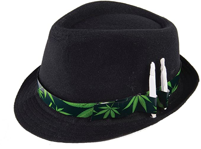 Amazon.com  Cannabis Leaf Novelty Fedora Hat Black Green  Clothing f0e23565969