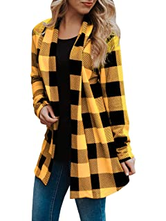 93cd20f8c4 Womens Buffalo Plaid Long Sleeve Plus Size Open Front Elbow Patch Cardigans