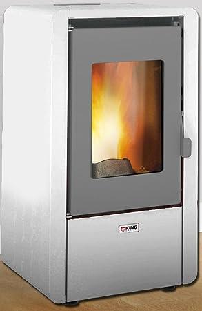 Piushopping: estufa de pellets King de 6,4 kW de acero para habitaciones de 50 m², apta para casas y apartamentos Dimensioni:cm.