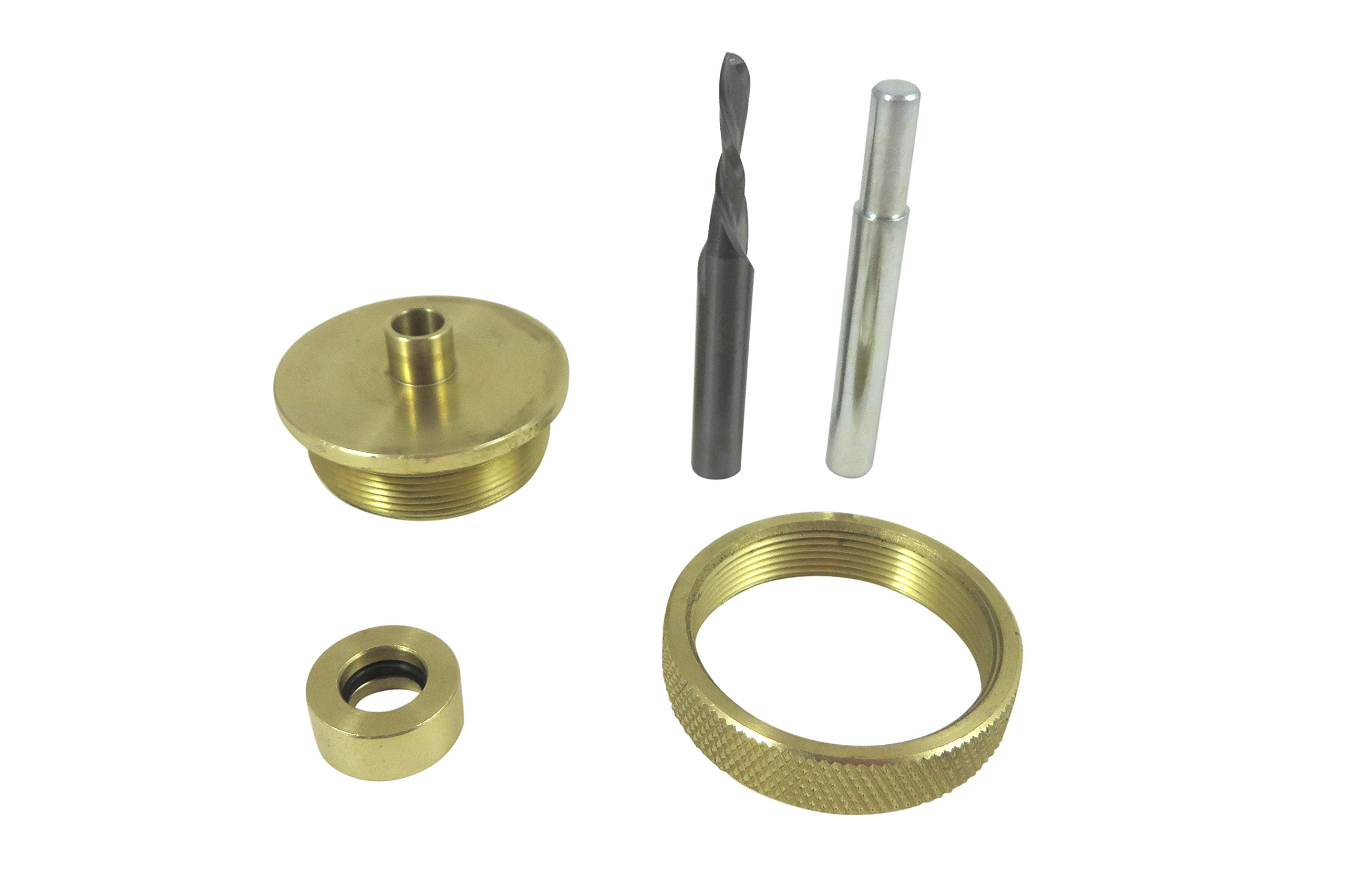 Taytools 300011 Router Inlay Kit Solid Brass 3 Piece Guide Bushing, 1/8 Inch Solid Carbide Downcut Bit and Alignment Pin by Taytools