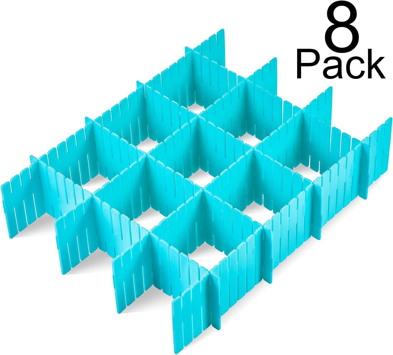 Zonon 8 Piezas de Separador de Cajón Grueso Organizador de Cajones de Rejilla de Plástico Divisor de Cajón de Armario
