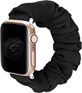 BMBMPT Scrunchie Elastic Watch Band Compatible with Apple Watch Band 38mm 40mm 42mm 44mm Cloth Soft Pattern Printed Fabric Wristband for iWatch SE Series 6,5,4,3,2,1