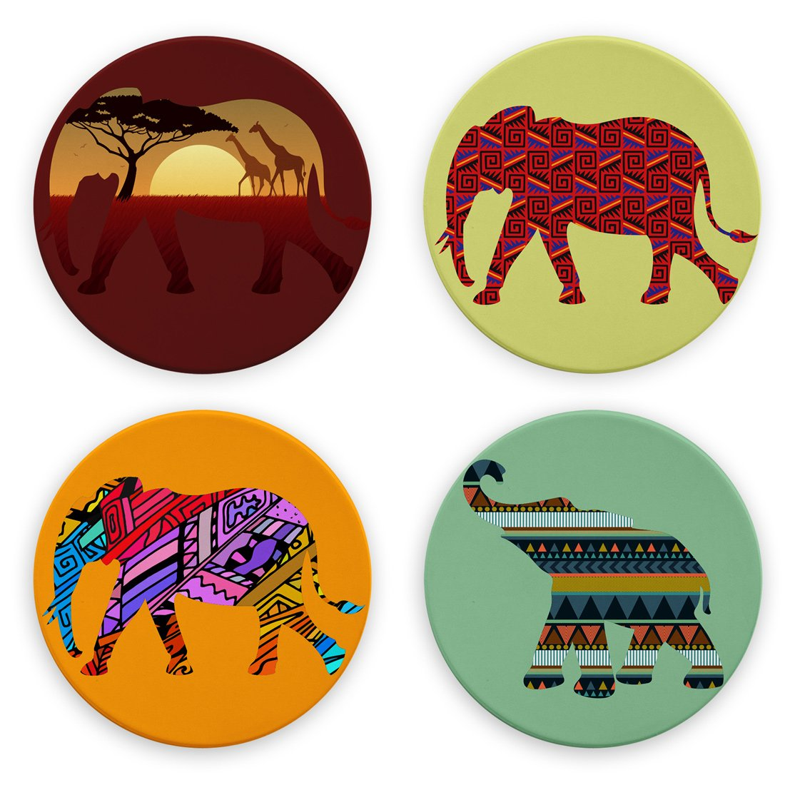 AK Wall Art Colorful African Elephants Design - Round Coasters, Natural Sandstone - Set of 4