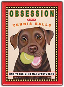"Retro Pets Refrigerator Magnet - Obsession Tennis Balls, Chocolate Lab (Labrador Retriever) - Vintage Advertising Art - 2.5"" x 3.5"""