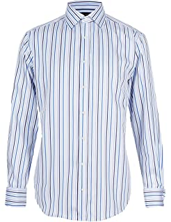 8ecaabe17a33 Mens Marks and Spencer Pure Cotton Non-Iron Long Sleeve Striped Shirt by M S