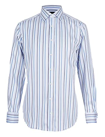 b51d13ea0dbf Mens Marks and Spencer Pure Cotton Non-Iron Long Sleeve Striped Shirt by  M&S (14/12 inch Chest 36 inch, Blue): Amazon.co.uk: Clothing