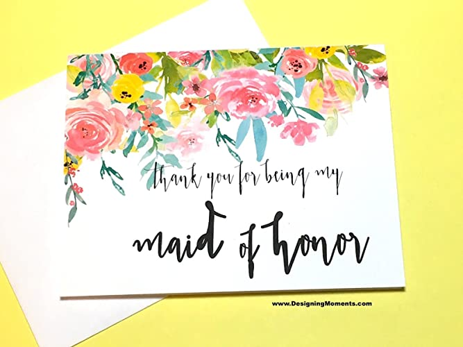 Amazon Com Maid Of Honor Thank You Card Thank You For Being My