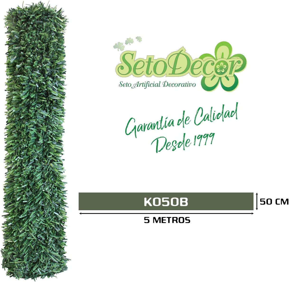 Seto Decor K050B Seto Artificial Decorativo de Hoja Normal de 0, 5 x 5 Metros, Color Verde: Amazon.es: Jardín