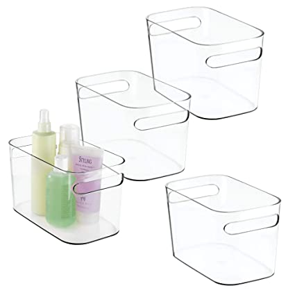 mDesign Deep Plastic Bathroom Vanity Storage Bin with Handles - Organizer for Hand Soap, Body