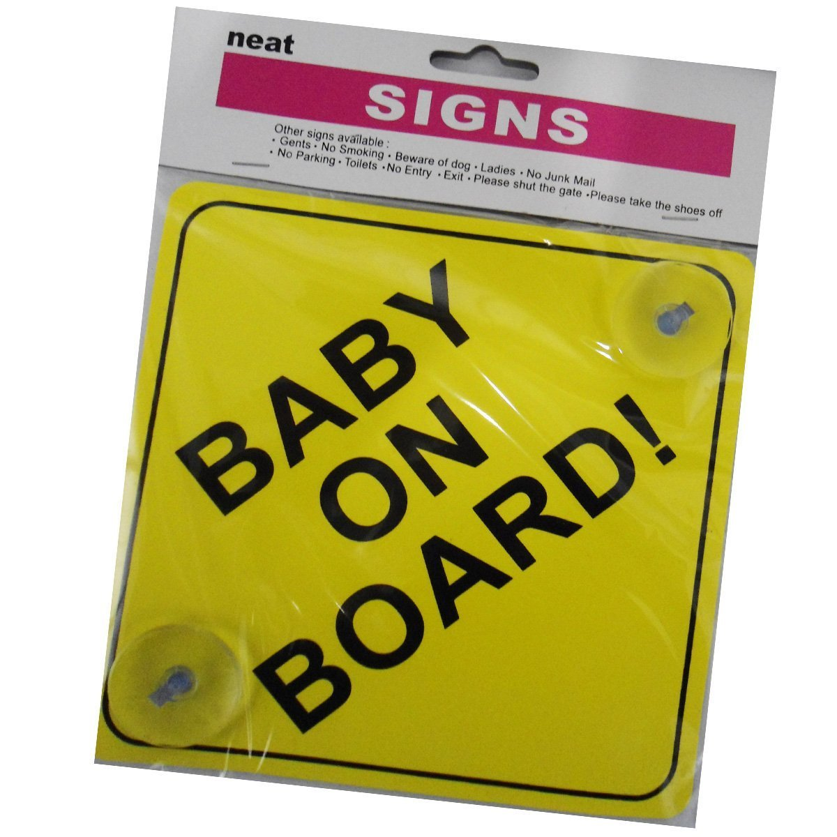 eFast Baby on Board Sign Child Safety includes 2 suction cup for your Car Vechicle Signs