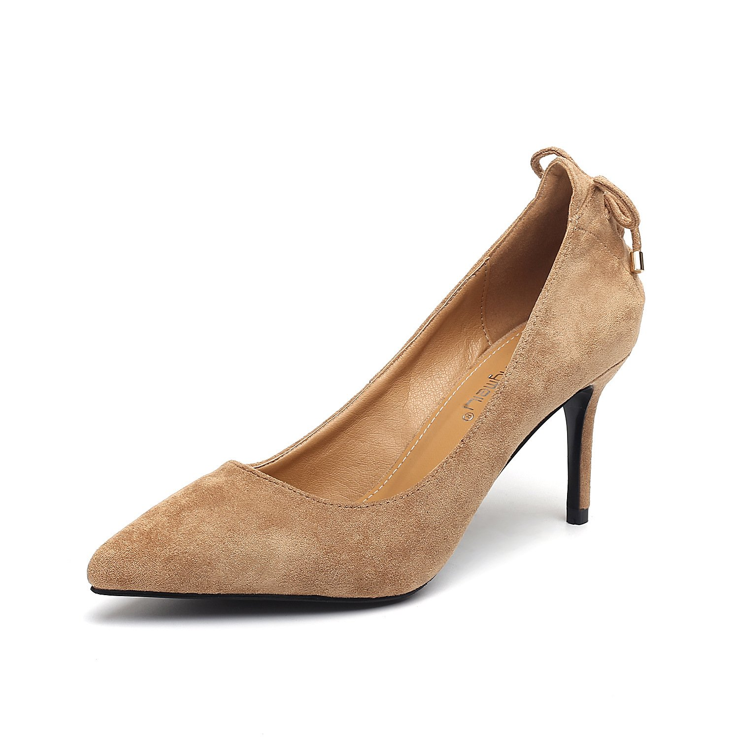 Women shoes high-heeled shoes single shoes elegant satin rear tip fine with women's shoes tied with single shoes, beige 36