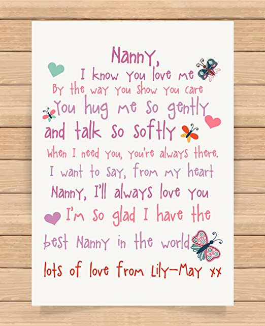 personalised presents gifts for nanny grandma granny from grandson