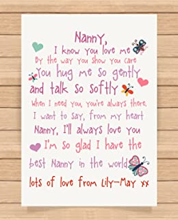 Personalised Presents Gifts For Nanny Grandma Granny From Grandson Grandaughter Birthday